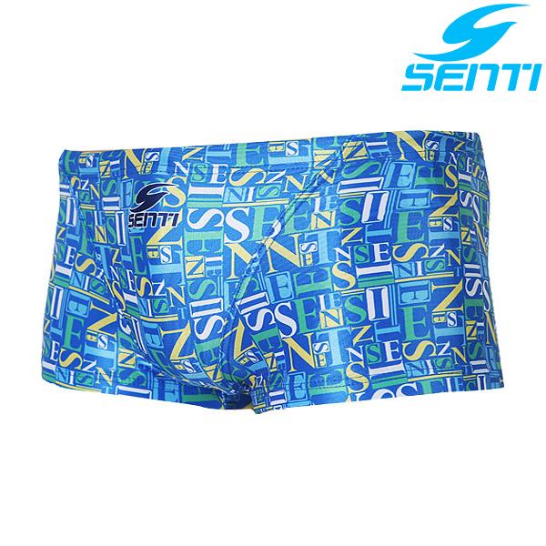 센티 MSP-4407-BLUE 타이포그래픽 남성 선수용 숏사각 수영복