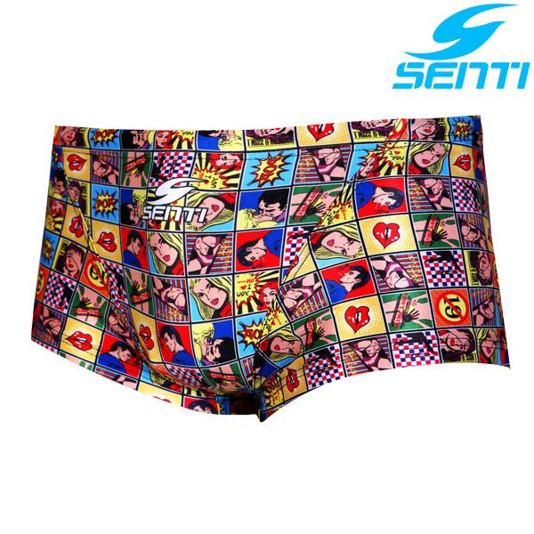 센티 MSP-5409Y-YELLOW 팝 아트 남성 선수용 숏사각 수영복