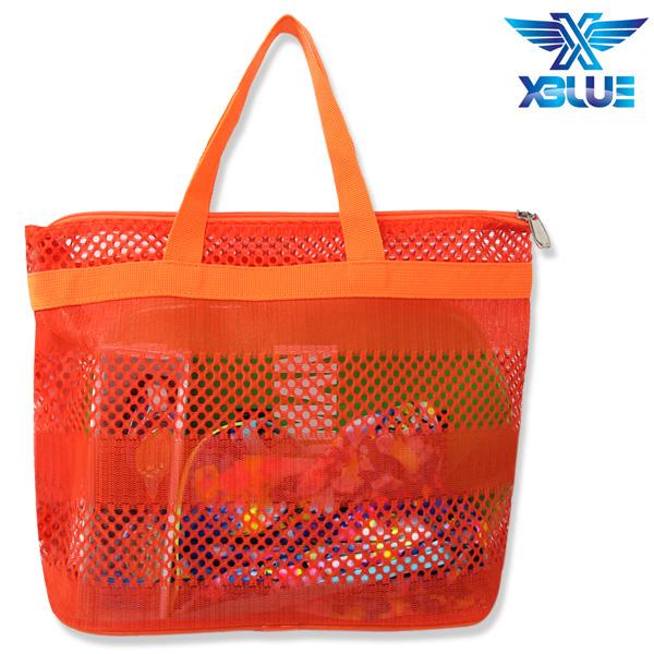 망사비치백-ORG 엑스블루 지퍼 가방 수영용품
