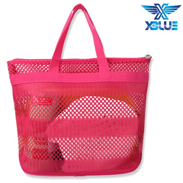 망사비치백-PNK 엑스블루 지퍼 가방 수영용품