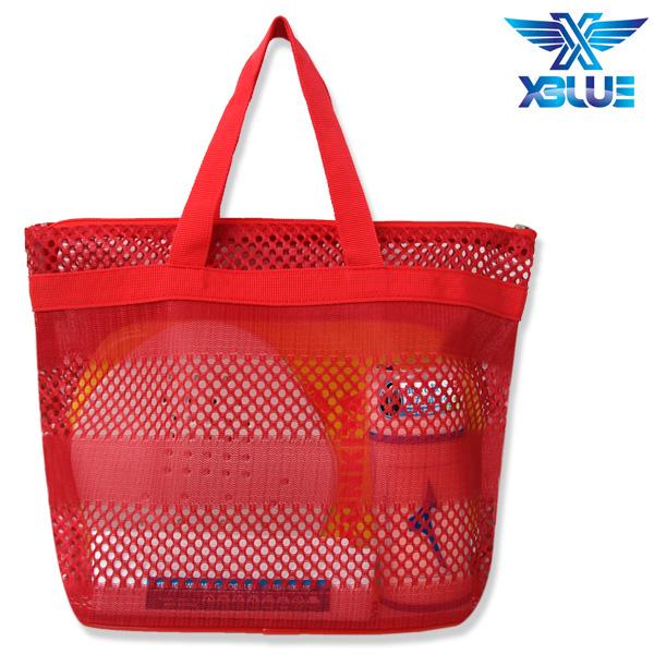 망사비치백-RED 엑스블루 지퍼 가방 수영용품