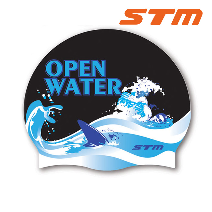 STM 수모 OPEN WATER-BLK 실리콘 수영모