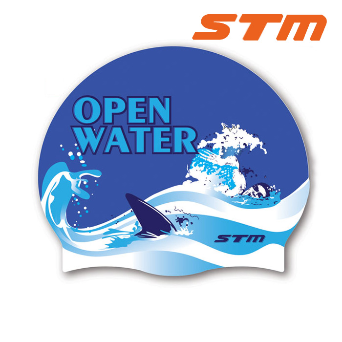 STM 수모 OPEN WATER-NVY 실리콘 수영모