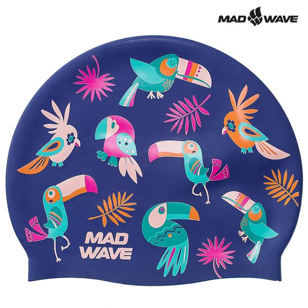 PARROTS-NAVY MAD WAVE 실리콘 수모 수영모