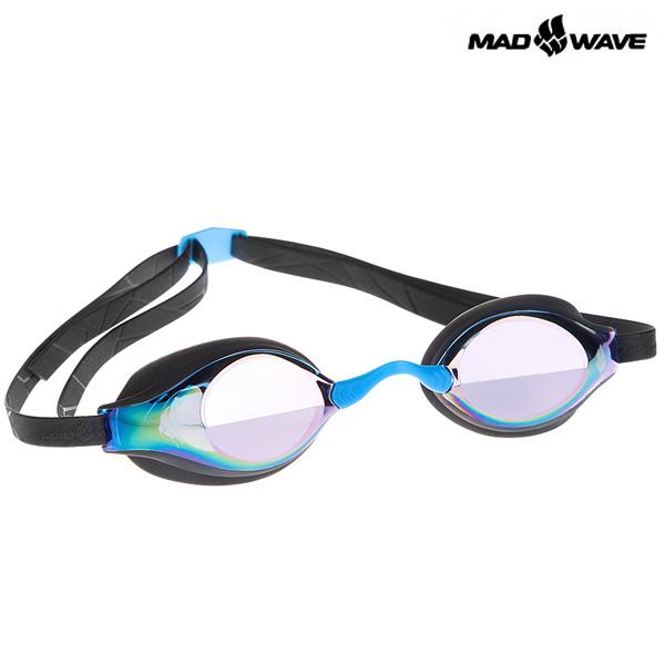 RECORD BREAKER RAINBOW(BLACK) MAD WAVE 선수용 패킹 미러 수경