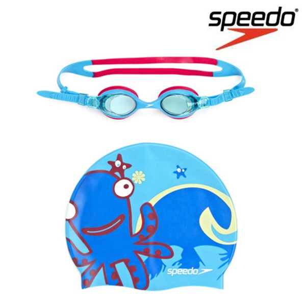 SGJ-SA160BL SPEEDO 스피도 Sea squad Goggle Cap Set 주니어 수경