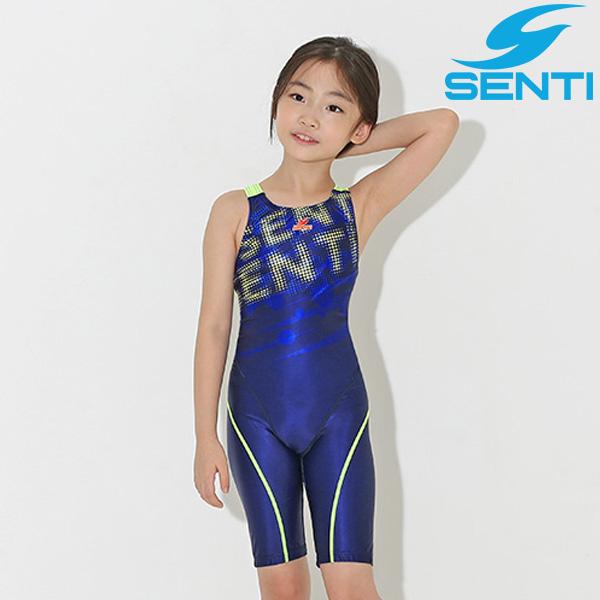 센티 WJDT-9003-NVLM 스프레드 여아동 선수용 5부 수영복