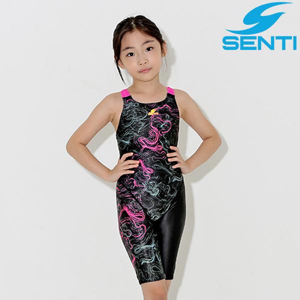 센티 WJDT-9009-BKPK 트위드링 여아동 선수용 5부 수영복