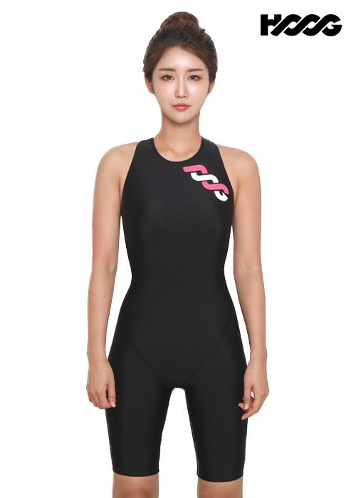 후그 WLA1169 슬림핏 5부컷 하이넥버클 H-back 여성 반전신 수영복