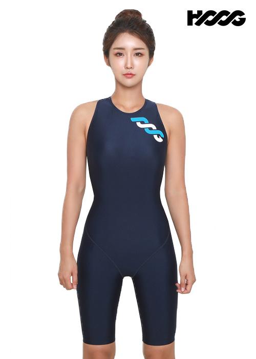 후그 WLA1170 슬림핏 5부컷 하이넥버클 H-back 여성 반전신 수영복