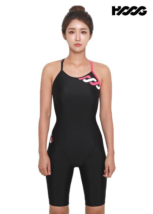 후그 WLA1171 슬림핏 5부컷 란제리 X-back 여성 반전신 수영복