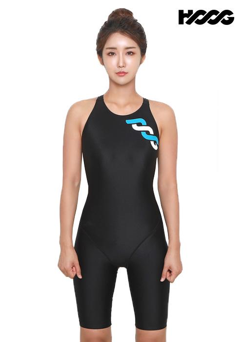 후그 WLA1177 슬림핏 5부컷 X-back 여성 반전신 수영복