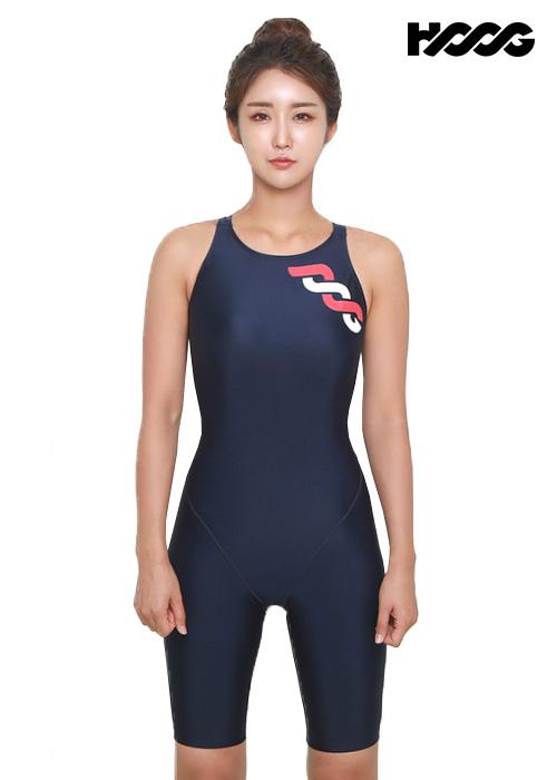 후그 WLA1178 슬림핏 5부컷 X-back 여성 반전신 수영복