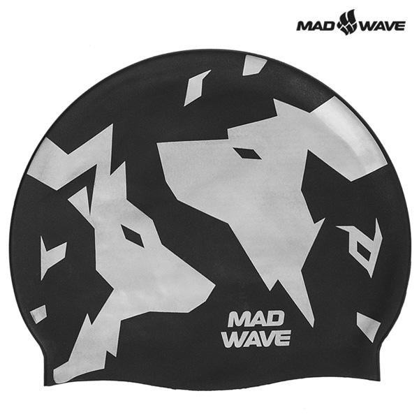 WOLFS-BLACK MAD WAVE 실리콘 수모 수영모