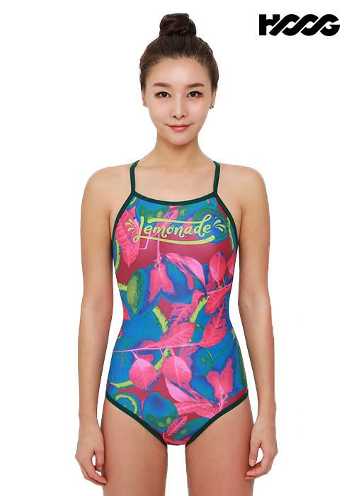후그 WRA1308 로우컷 란제리 X-back 여성 원피스 수영복