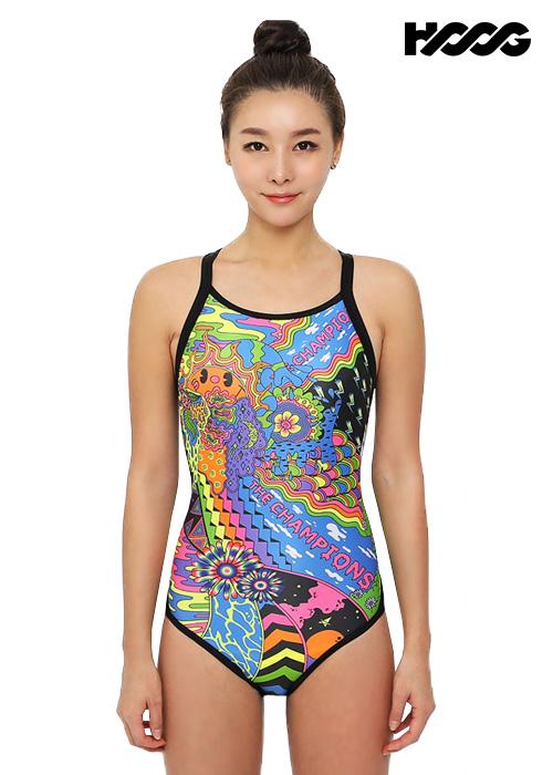 후그 WRA1310 로우컷 트라이앵글 X-back 여성 원피스 수영복
