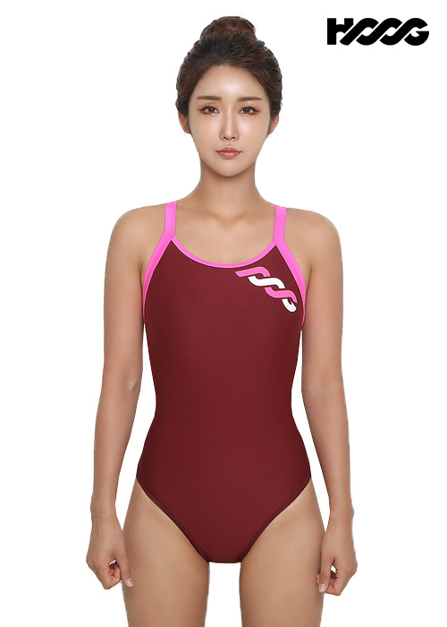 후그 WRT1182 로우컷 트라이앵글 X-back 탄탄이 여성 원피스 수영복
