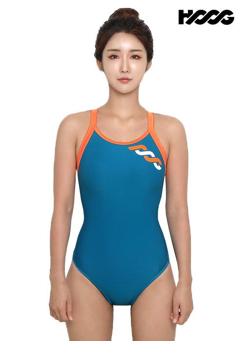 후그 WRT1184 로우컷 트라이앵글 X-back 탄탄이 여성 원피스 수영복