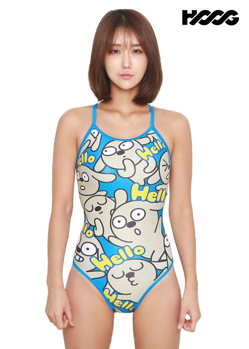 후그 WSA1074 미들컷 트라이앵글 X-back 여성 원피스 수영복