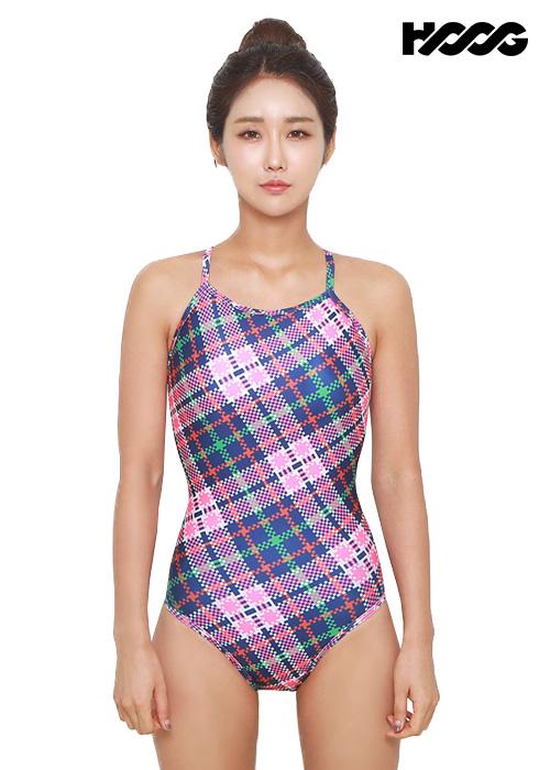후그 WSA1097 미들컷 크로스 X-back 여성 원피스 수영복