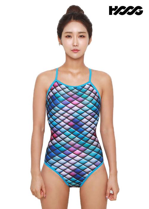 후그 WSA1098 미들컷 크로스 X-back 여성 원피스 수영복