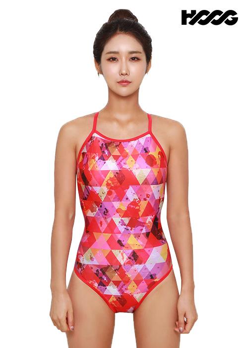 후그 WSA1102 미들컷 더블스트랩 X-back 여성 원피스 수영복