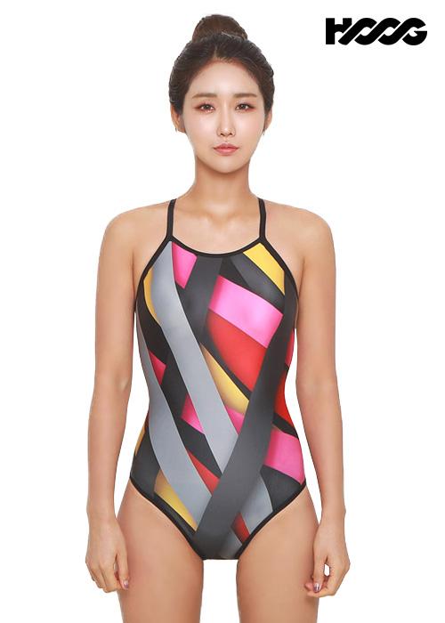 후그 WSA1107 미들컷 더블스트랩 X-back 여성 원피스 수영복