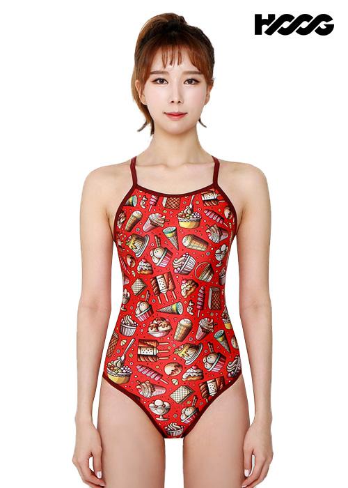 후그 WSA1110 미들컷 V-back 여성 원피스 수영복
