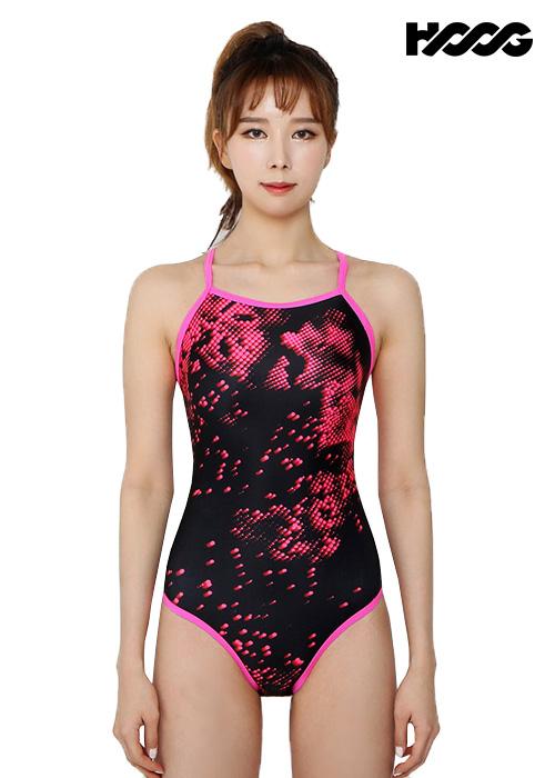 후그 WSA1113 미들컷 리본크로스 X-back 여성 원피스 수영복