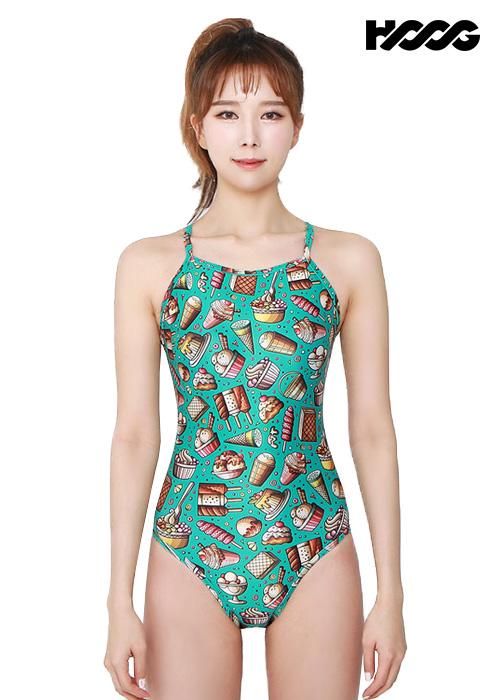 후그 WSA1115 미들컷 리본크로스 X-back 여성 원피스 수영복