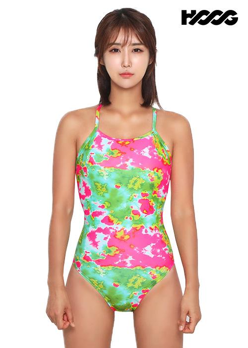 후그 WSA1217 미들컷 더블스트랩 X-back 여성 원피스 수영복