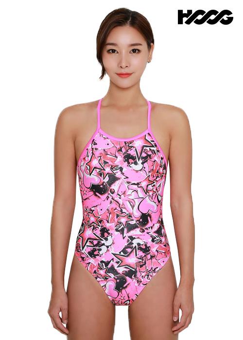 후그 WSA1230 하이컷 오픈 X-back 여성 원피스 수영복
