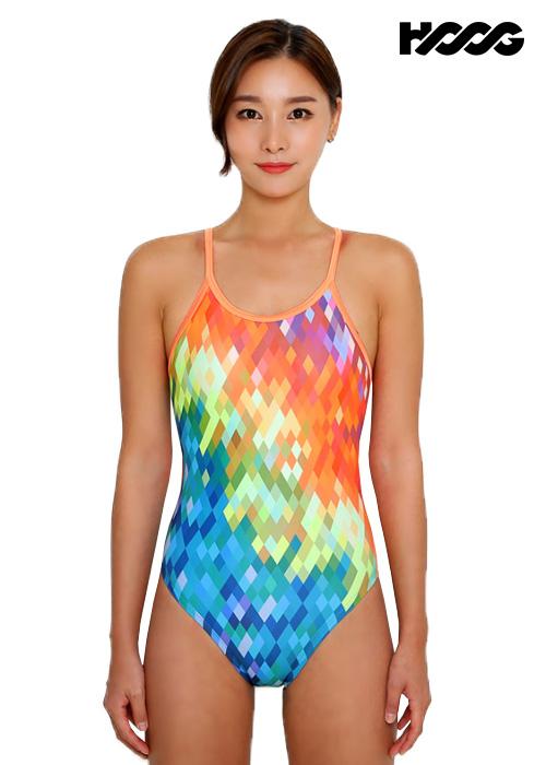 후그 WSA1242 하이컷 클로즈 X-back 여성 원피스 수영복