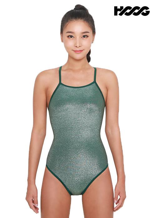 후그 WSM1198 미들컷 리본크로스 X-back 여성 원피스 수영복
