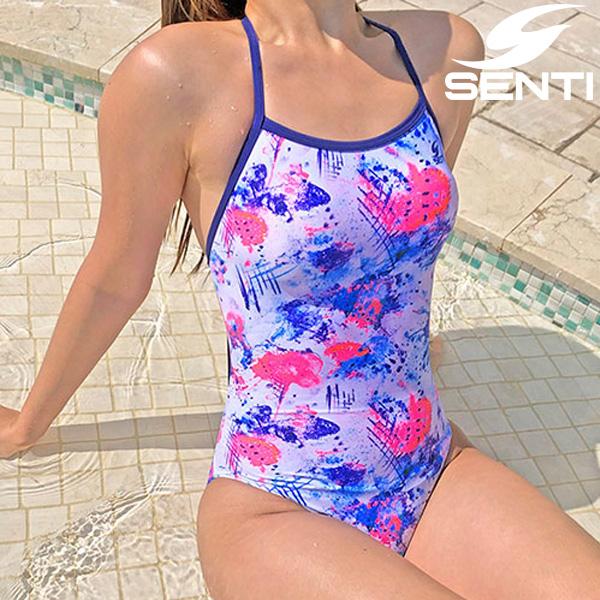 센티 아디오스 WSM-20939-WH/NV 여성 선수용 세미 플립턴 원피스 수영복