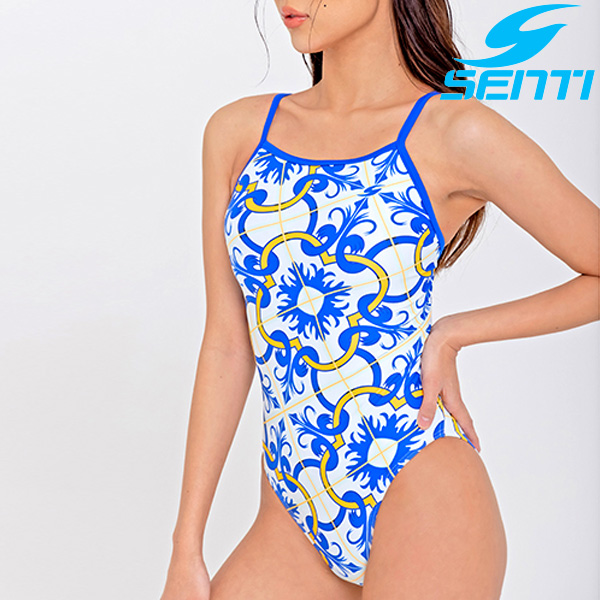 센티 WSM-21931-WHBL 여성 선수용 세미 플립턴 모로칸블루 수영복