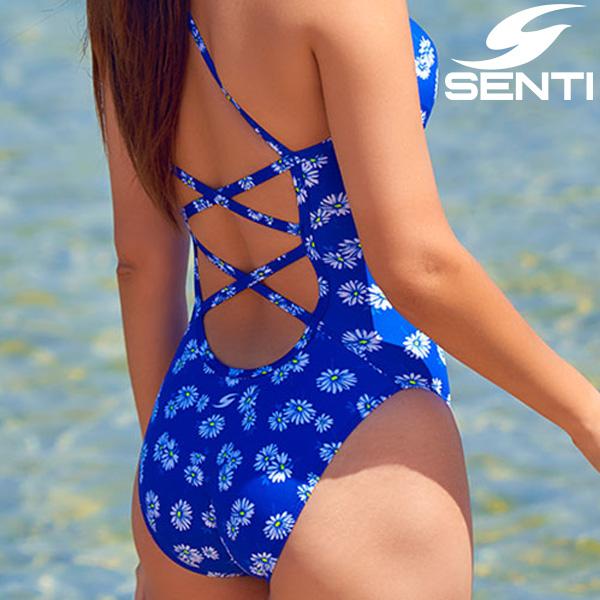 센티 WSM-21936 블루밍 Blue 여성 선수용 세미 플립턴 수영복