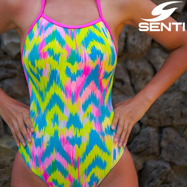 센티 WSM-21939 클레이브 Lime 여성 선수용 세미 플립턴 수영복