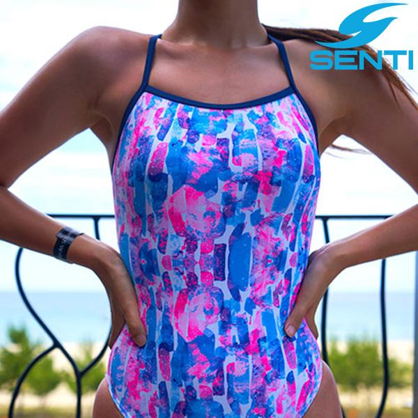 센티 WSM-21940 에시드 Blue 여성 선수용 세미 플립턴 수영복