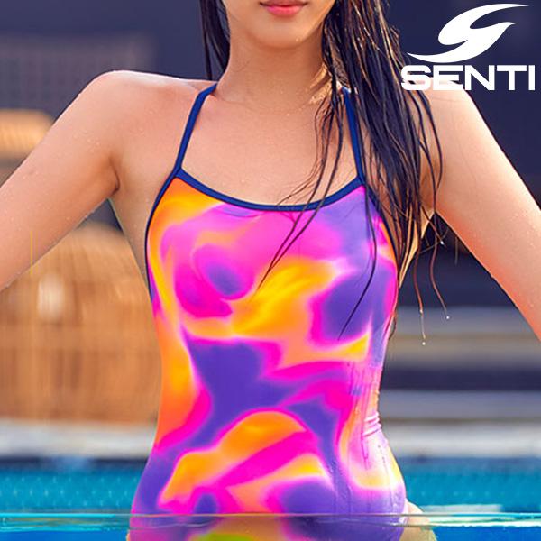 센티 WSM-21943 헤이즈 Purple 여성 선수용 세미 플립턴 수영복
