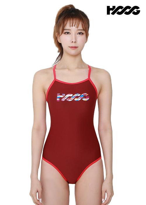 후그 WST1127 미들컷 V-back 탄탄이 여성 원피스 수영복