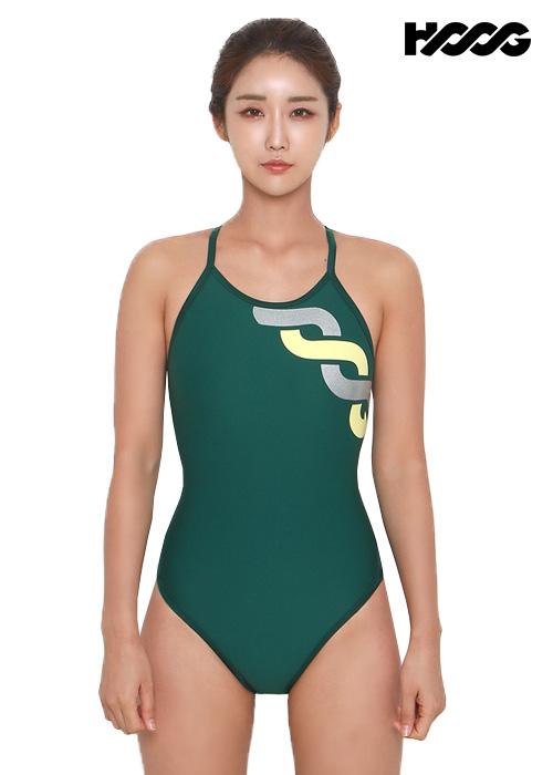 후그 WST1144 미들컷 트라이앵글 X-back 탄탄이 여성 원피스 수영복