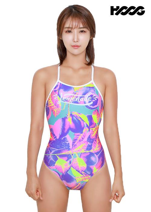 후그 WST1211 미들컷 더블스트랩 X-back 탄탄이 여성 원피스 수영복