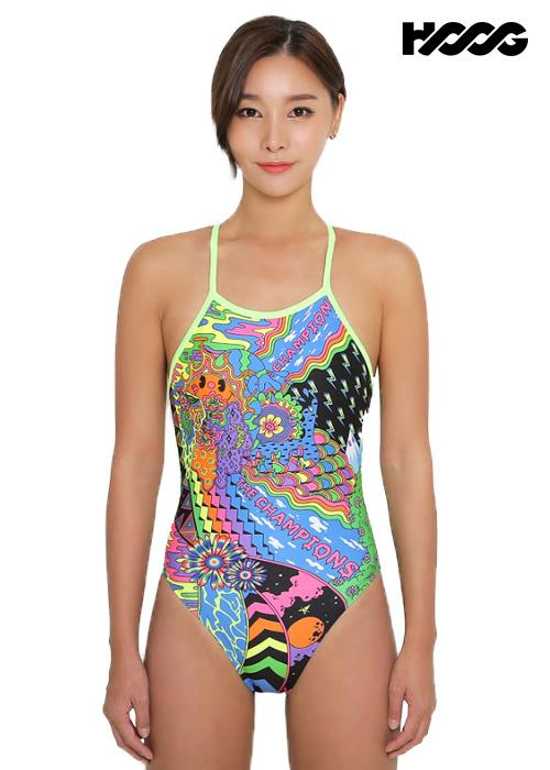 후그 WST1229 하이컷 오픈 X-back 탄탄이 여성 원피스 수영복