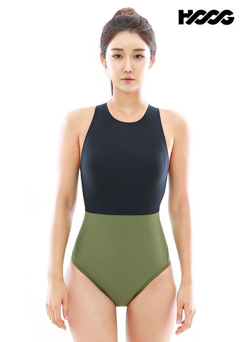 후그 WST1246 로우컷 하이넥버클 H-back 탄탄이 여성 원피스 수영복