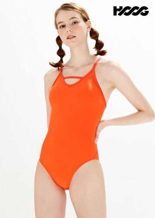 후그 WST1424 미들컷 브이바 크로스 X-back 탄탄이 여성 원피스 수영복