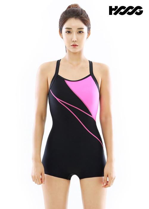 후그 WUT1264 1부컷 빅스트랩 X-back 탄탄이 여성 반전신 수영복
