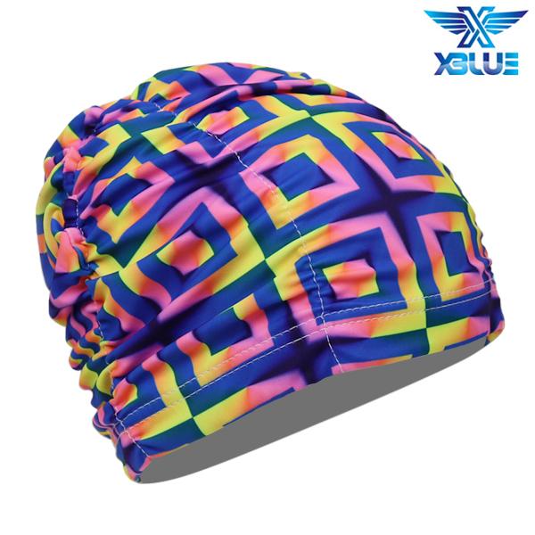XBL-0200-1 엑스블루 아쿠아 주름나염 수모 수영모