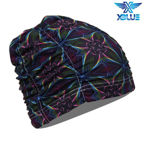 XBL-0200-5 엑스블루 아쿠아 주름나염 수모 수영모