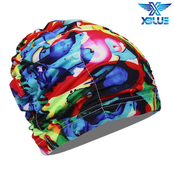 XBL-0200-8 엑스블루 아쿠아 주름나염 수모 수영모